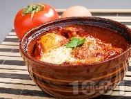 Кюфте от телешка кайма в гювече по тутракански с яйца и сирене